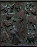 The Adoration of the Shepherds: a panel of one of the entrance doors to Siena's Duomo - H. Manerini (1958)