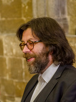 Richard Parker Crook, photographed at the opening of Art for Carers 2015, Gloucester Cathedral Chapter House