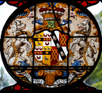 Heraldic glass dating from 1753, St John the Evangelist, Shobdon, Herefordshire
