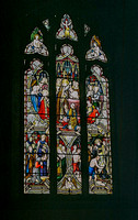Baptistry window: Top: Pope St Sylvester baptising the Emperor Constantine. Bottom L. - St Augustine baptising King Ethelbert of Kent. Bottom R. - St Paulinus baptising converts in the R. Swale