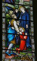 St Benedict's window - Maurus and Placid as children, being presented to St Benedict in the monastery of Subiaco