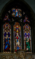 Lady Chapel window: Our Lady (centre), with St Anne and St Elizabeth: glass by John Hardman of Birmingham, responsible for the glass throughout the church