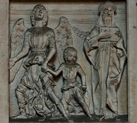 Tobias and the angel Raphael (but no dog): Sarcophagus of Pier Candido Decembrio, Sant'Ambrogio, Milan
