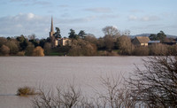 Bredon, looking across the flooded River Avon from the M5