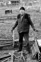 Allotment holder, aged 74, at Stratton, Cirencester