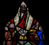 The Ascension - a detail from a memorial window by Edward Payne of Box, 1988, St Bartholomew, Winstone, Gloucestershire