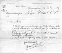 Letter to A J Gateley from R E Yates, captain of Sutton Coldfield Cricket Club's First Team, dated 9th July 1907