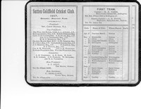 1907 Sutton Coldfield Cricket Club card - 1