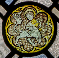 Mediaeval glass in the window of the St Alban Roe Chapel, Ampleforth Abbey (formerly in Robert Emmet's chapel, Moreton Paddox, Warwickshire)