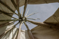 Inside the reproduction of a Cheyenne Indian tepee, Claverton Manor, Bath
