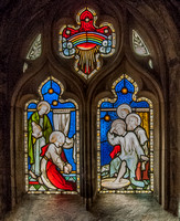 The washing of Peter's feet by Jesus, stained glass by Hardman, Gloucester Cathedral Cloisters
