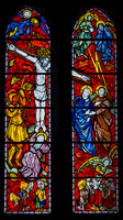 The Crucifixion: Patrick Reyntiens' stained glass in the Holy Cross Chapel,  Ampleforth Abbey - 2004