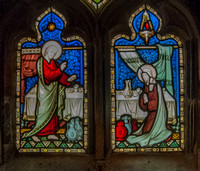 The mitacle at Cana, stained glass by Hardman, Gloucester Cathedral Cloisters