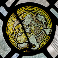 Mediaeval glass in the window of the St Alban Roe Chapel, Ampleforth Abbey