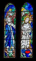 The wedding feast at Cana: Patrick Reyntiens' stained glass in the Lady Chapel, Ampleforth Abbey - 2002