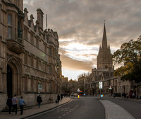 The High, Oxford: University College - left - and All Souls College and the University Church - right.