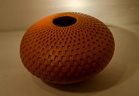 In the Beaux Arts Gallery, York Street, Bath: Michael Wisner's Orange Rectangle Vase (coiled and carved clay), £280