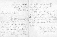 Letter written by George Sharp to A J Gateley, 30th September 1907, accompanying his formal letter signed by members of the Sutton Coldfield 2nd XI cricket team